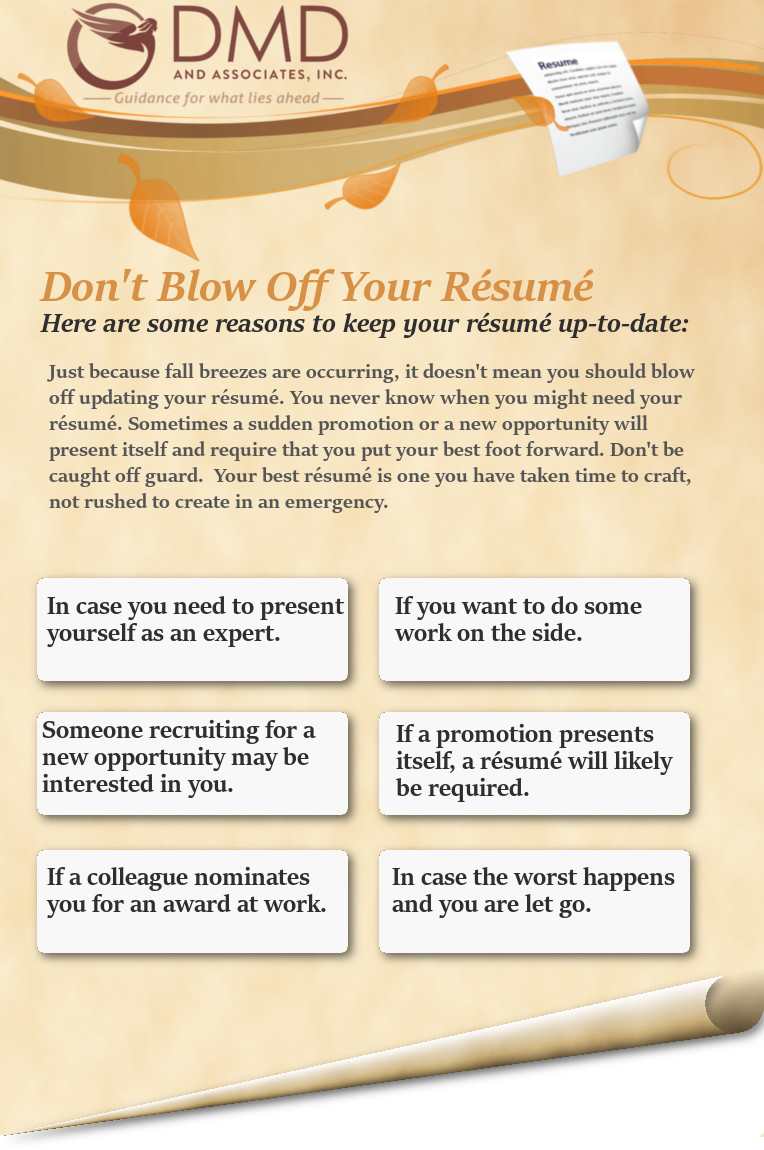 Don T Blow Off Your Resume Dmd Associates Inc